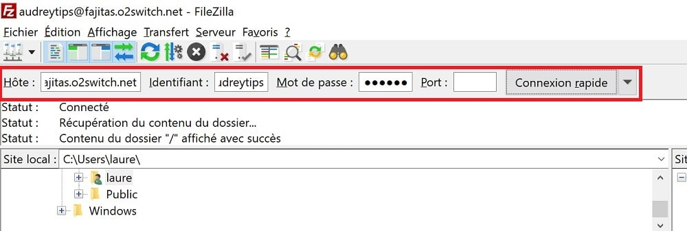 Se connecter à Filezilla
