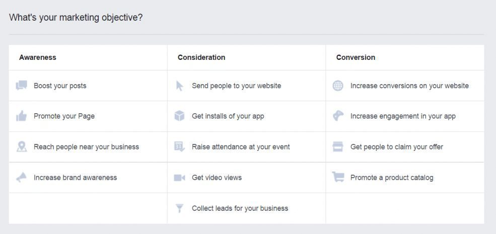 Définir l'objectif de la campagne de publicité Facebook