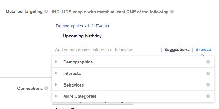 FAcebook Ads - définir les centres d'intérêt et comportements de l'audience