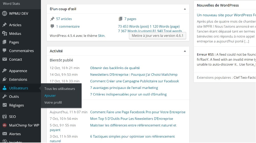 wordpress creer compte utilisateur