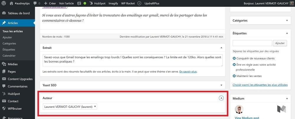 Comment changer l'auteur d'un article sur wordpress - Contenu
