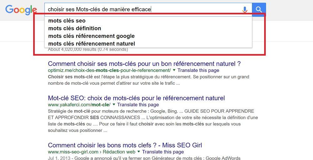 Google (ou Bing) pour voir des recherches suggérées