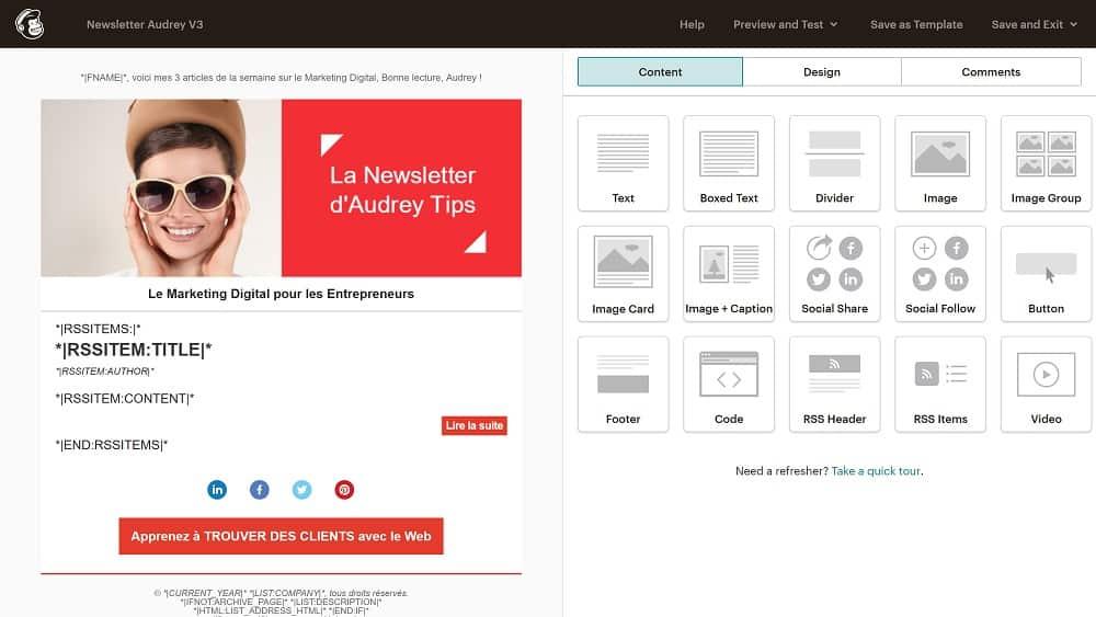 7. Peaufinez le design et le contenu de votre newsletter automatisée via RSS