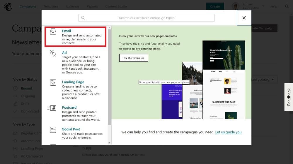 pour automatiser le contenu de votre newsletter, choisissez le premier choix : Email