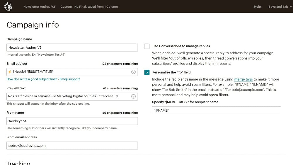 5. Précisez les informations de base de votre newsletter
