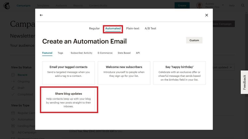 Mailchimp propose 4 types de campagne :