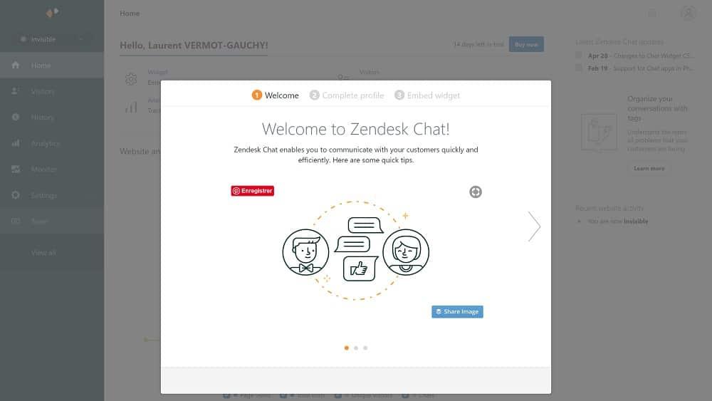 Première étape, créer un compte sur Zopim.