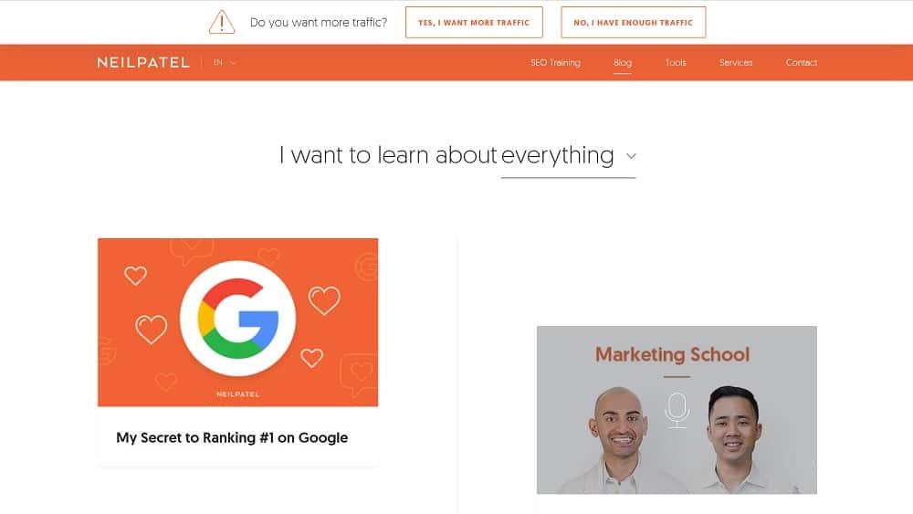 Neil Patel un blog américain sur le Marketing en ligne à Suivre en 2019