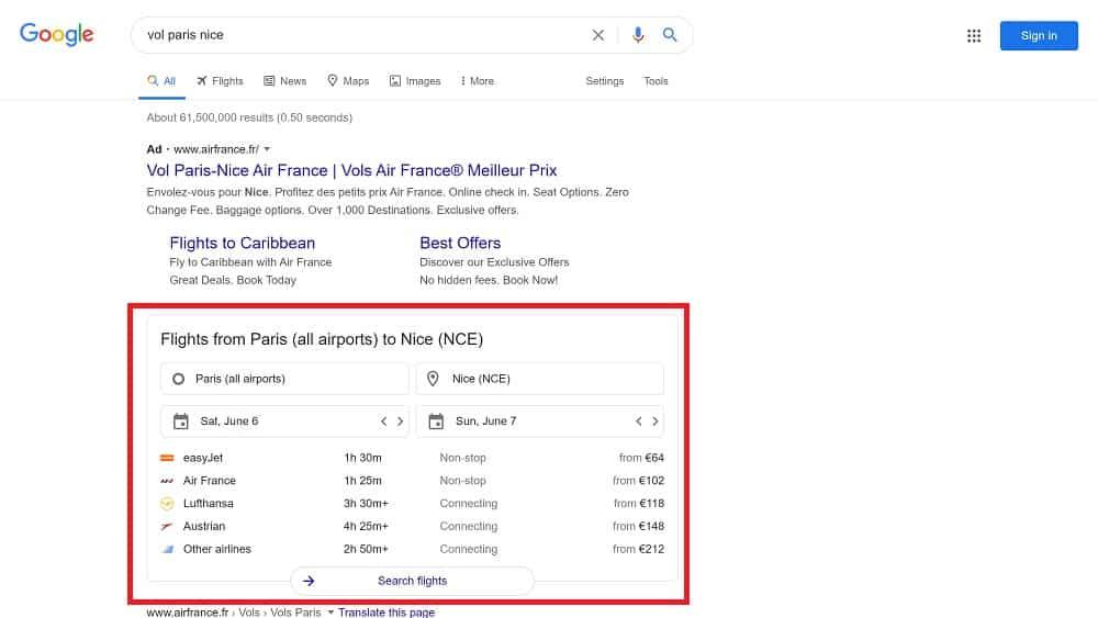 Les recherches transactionnelles comme Google Flights
