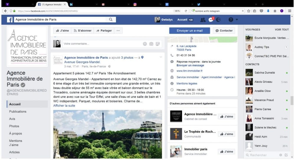 page immobilier facebook