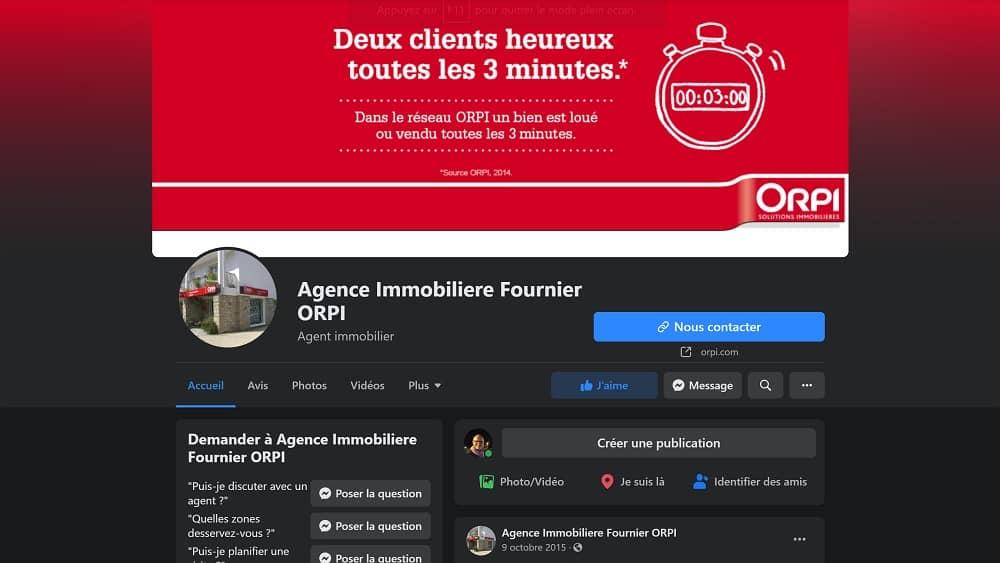 Page pro Facebook - L'agence immobilière Fournier Orpi à Carnac