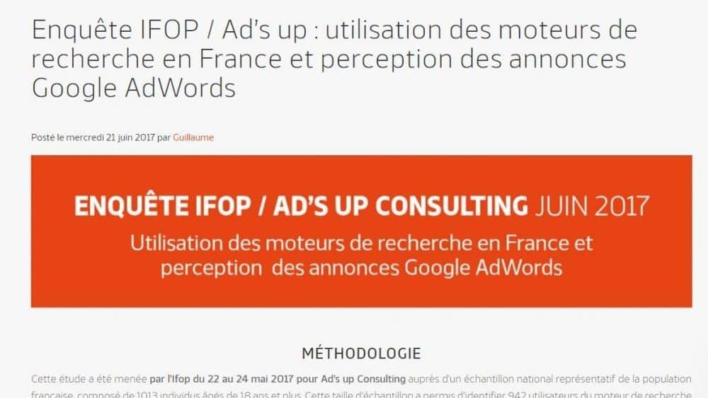 Enquête IFOP Ad's up Sur Les Moteurs De Recherche En France - Marketing Digital