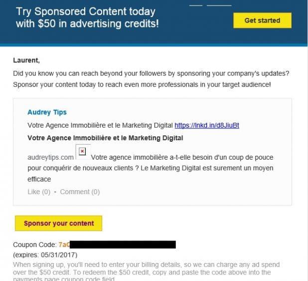 LinkedIn Ads, 50 USD offerts, comment s'en servir ? - Publicité en Ligne