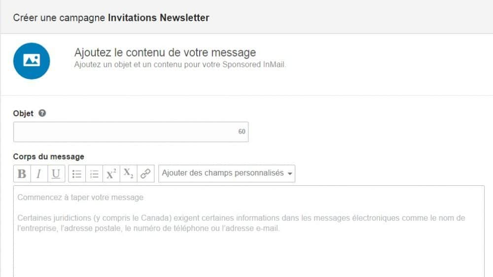 Rédaction du message du Sponsored InMail