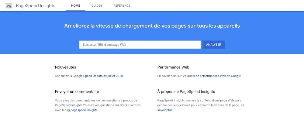 3. Page Speed ​​Insights : tester la vitesse d'affichage de vos pages