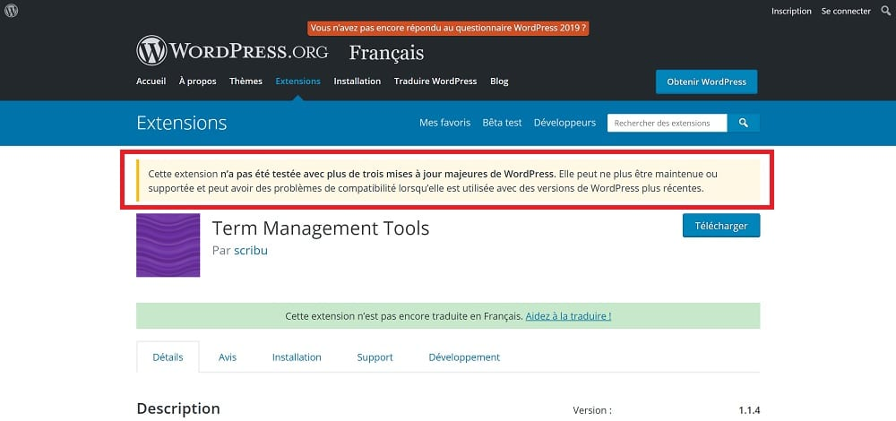 Attention - Term Management Tools, une extension à ne pas utiliser