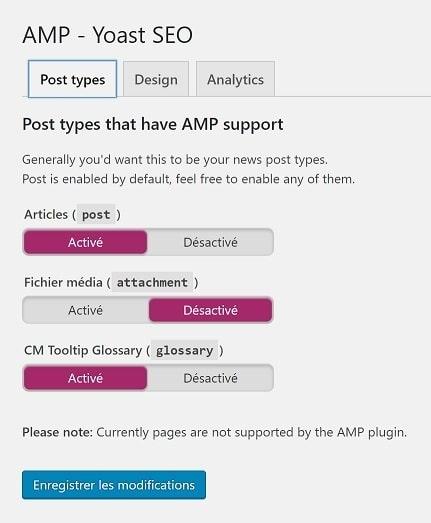 Configurez Glue for Yoast SEO & AMP - type de pages