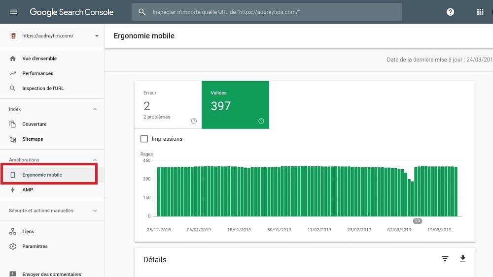Google Search Console : Améliorations > Ergonomie mobile