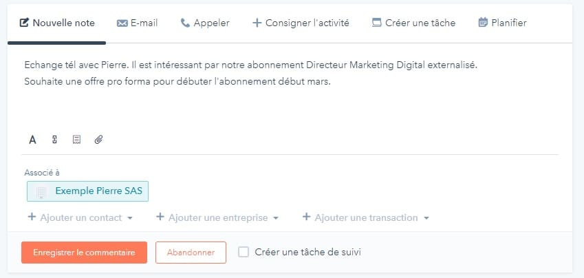 HubSpot CRM : Contacts, Entreprises, Transactions