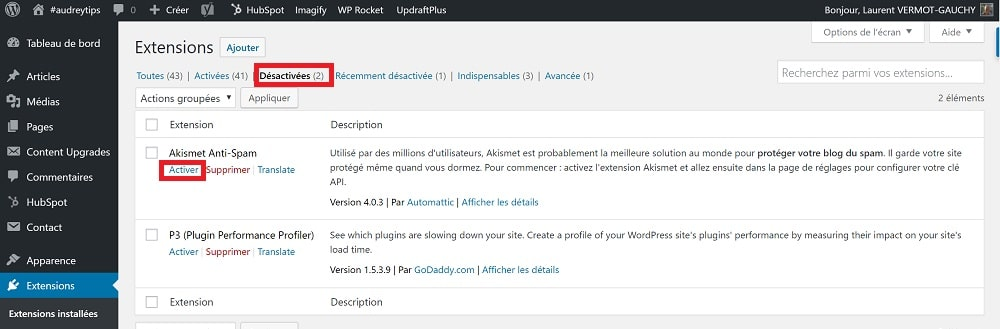 installer une extension WordPress