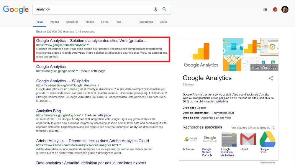 Se connecter à Google Analytics