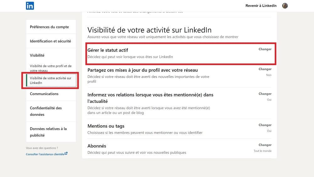 """Linkedin - Commentactiver ou désactiver votre """"Statut actif"""" ?"""