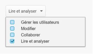 Analytics : Partage et droits d'utilisateur