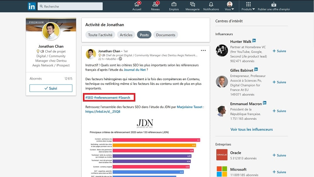cherchez quels sont les hashtags utilisés par les influenceurs de votre secteur d'activité