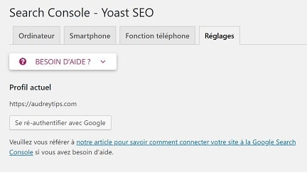 Yoast SEO : search console