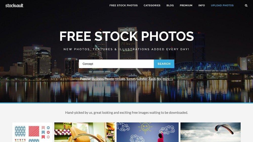 1. Stockvault - des images libres de droit avec un fort taux de compression