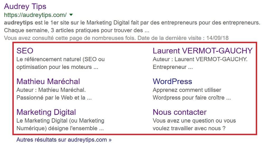 Comment obtenir des sitelinks dans les résultats de Google