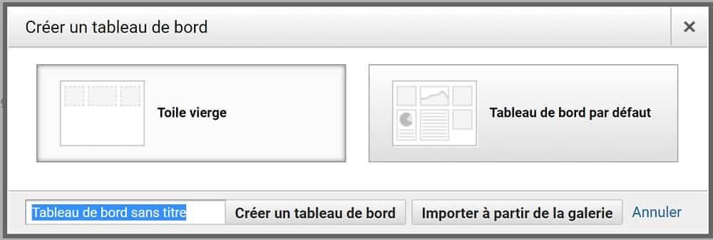plusieurs options de Tableaux de Bord Analytics