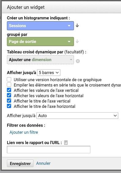 Paramétrage d'un widget sur Analytics