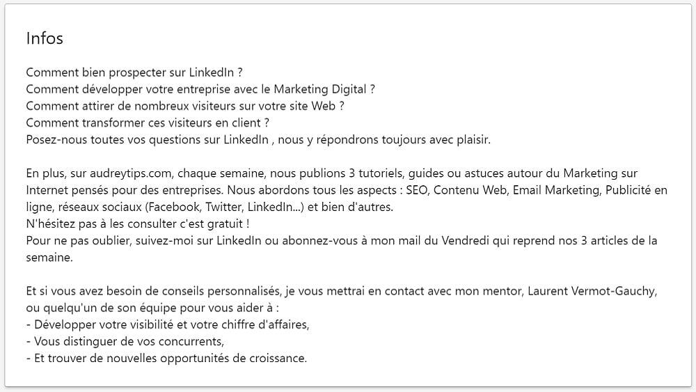 Prospection Linkedin : Ajouter un résumé engageant