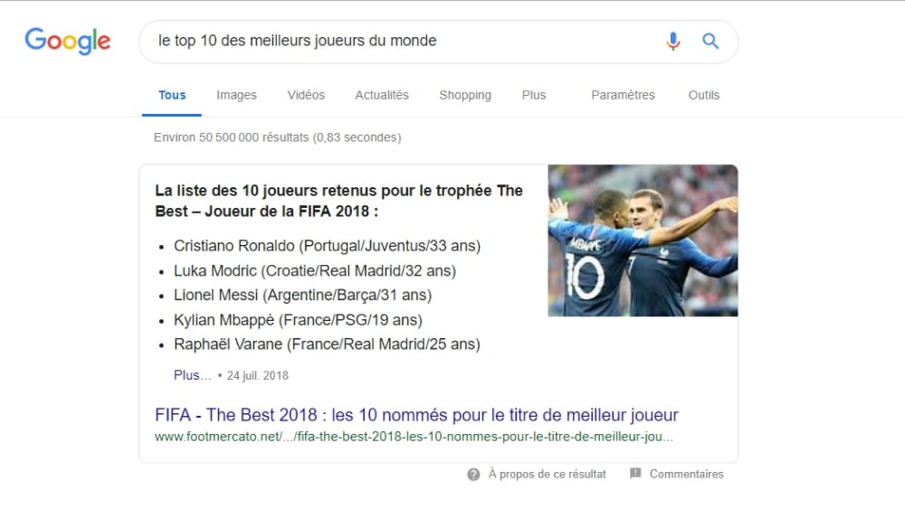 "Les Featured Snippets ""liste à puces"""