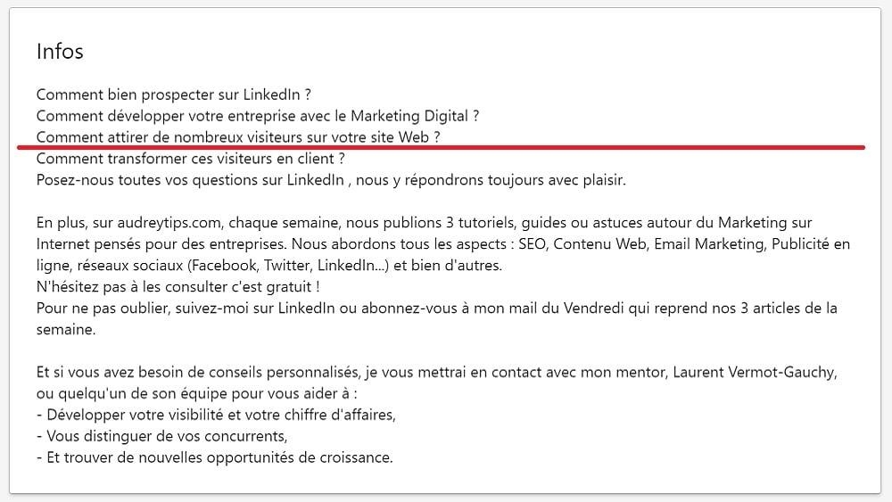 """Travailler la rubrique """"infos"""" de son profil pour trouver des clients sur LinkedIn"""