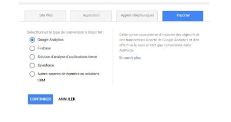 A. Importer vos conversions via Google Analytics