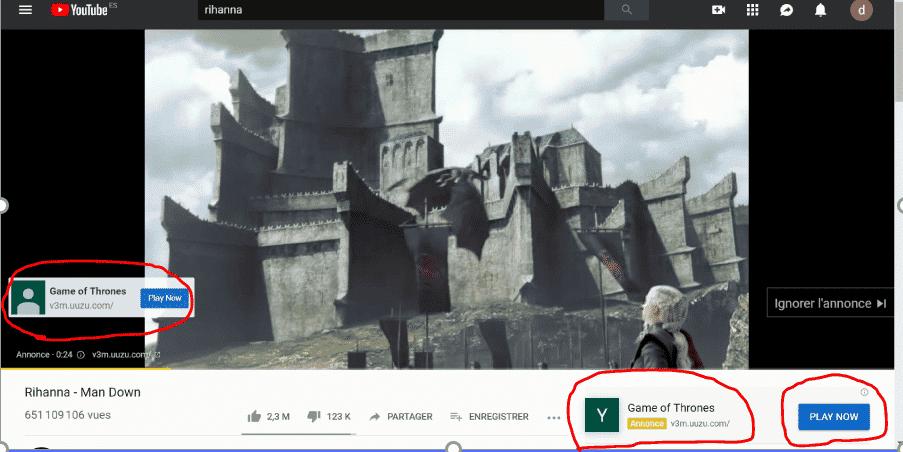 """À quoi correspond la catégorie """"action"""" des formats publicitaires YouTube ?"""