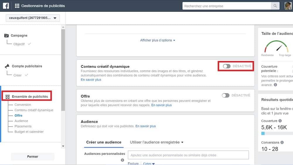 Facebook Ads - activez le bouton contenu créatif dynamique