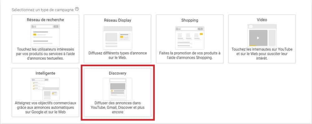 "L'option ""Discovery"" dans l'interface de Google Ads"