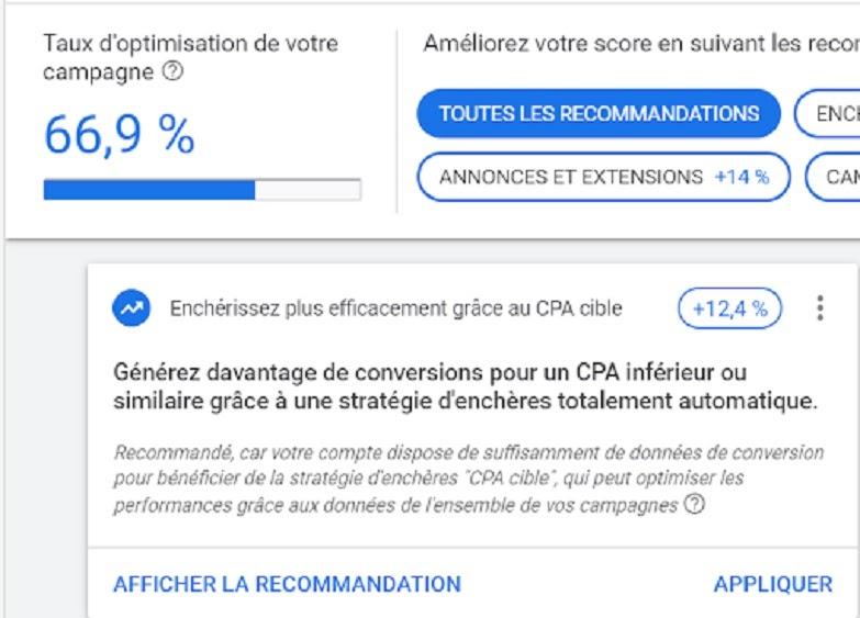 La recommandation de Google pour améliorer ce taux d'optimisation