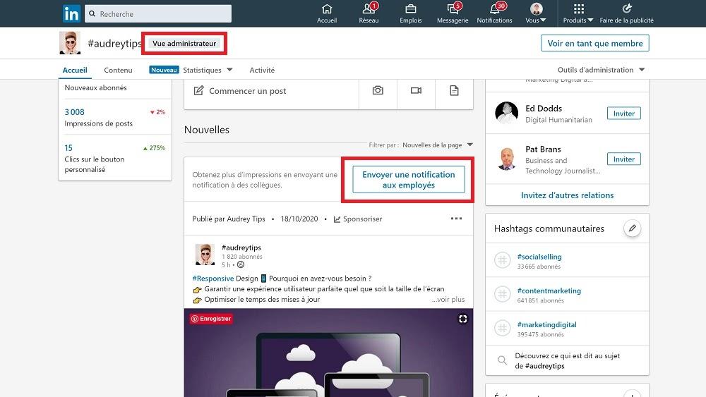Signaler à vos employés les publications de la page d'entreprise sur LinkedIn