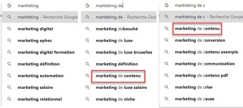 vous pouvez aussi tout simplement commencer avec Google Suggest