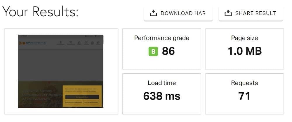 Malgré sa cinquantaine de plugins, WP assistance se charge toujours sous la barre d'une seconde (638 millisecondes exactement).