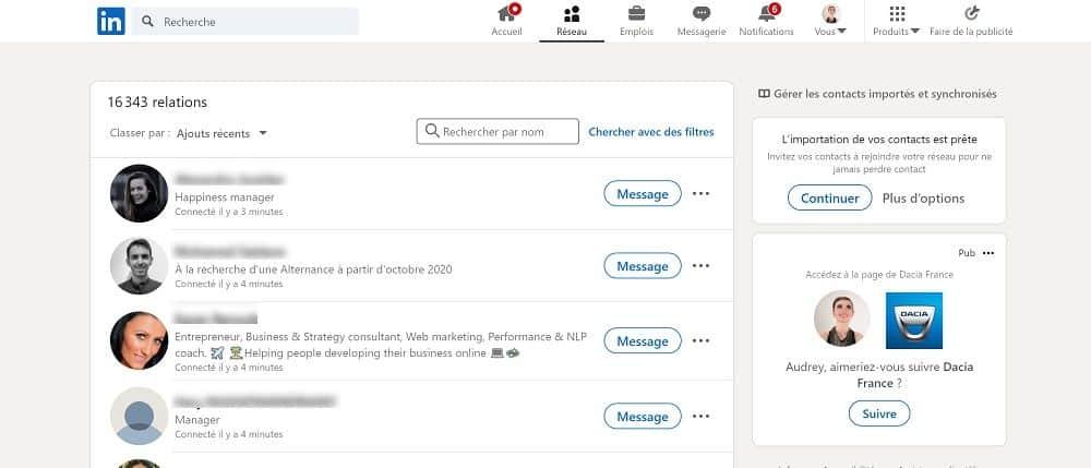 Consulter régulièrement votre réseau de niveau 1 sur LinkedIn
