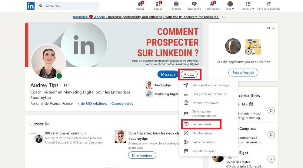 LinkedIn : Ecrire une recommandation