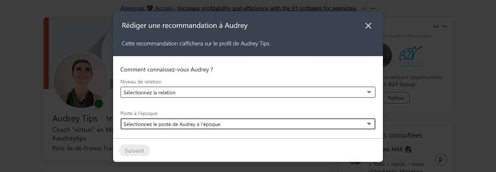 Rédiger une recommandation à Audreytips