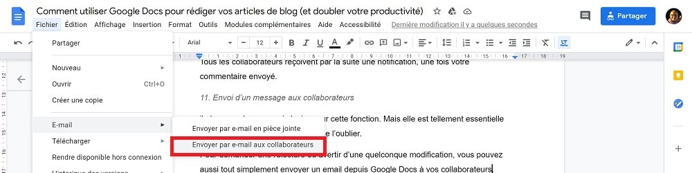 Envoi d'un message aux collaborateurs