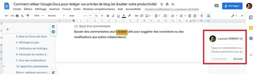 Google Docs - Ajout d'un commentaire