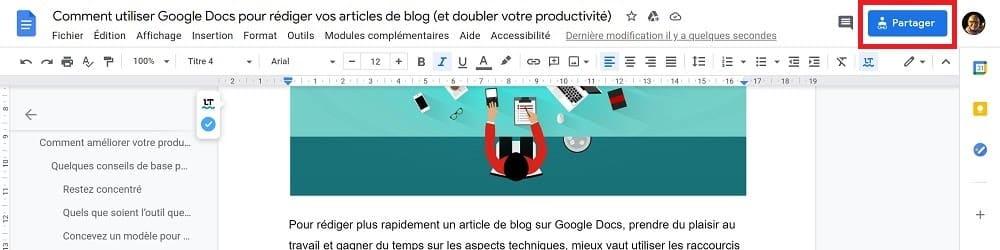 Google Doc - Partager